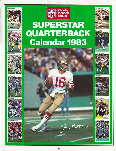 1983 Marketcom Superstar Quarterback Calendar