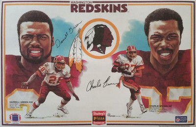 1985 Shakey's Pizza Placemats Darrell Green and Charlie Brown