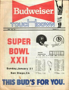 1988 Budweiser Super Bowl XXII Viewer's Guide