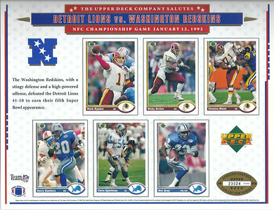 1992 Upper Deck NFC Championship Sheet