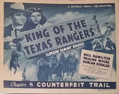 1949 King of the Texas Rangers Chapter 8 Sammy Baugh Lobby Card