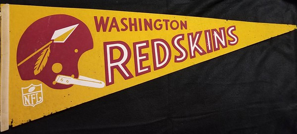 1960s Gold Spear Helmet Redskins Pennant