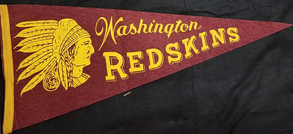 Maroon Chief Script and Block Redskins Pennant