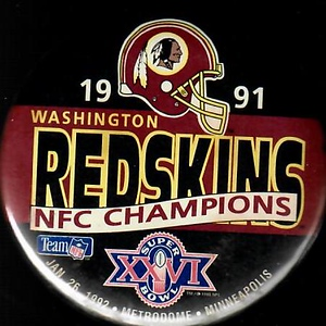 1992 Super Bowl XXVI NFC Champions Redskins Pin