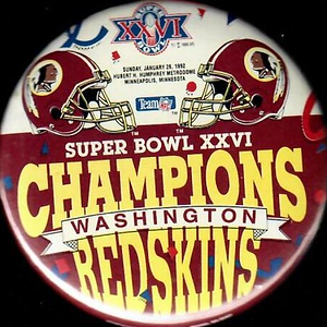 1992 Super Bowl XXVI Champions Redskins Pin