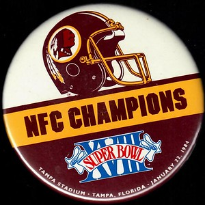1984 Super Bowl XVIII NFC Champions Redskins Pin