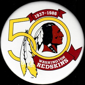 1986 Redskins 50th Anniversary White Logo Pin