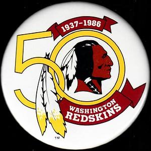 1986 Redskins 50th Anniversary White Logo Pin