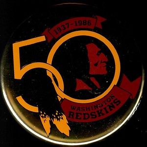 1986 Redskins 50th Anniversary Shiny Gold Logo Pin