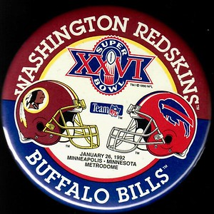 1992 Super Bowl XXVI Redskins vs. Buffalo Bills Pin