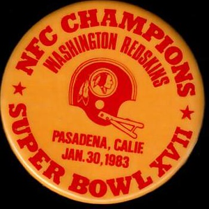 1983 Super Bowl XVII Redskins NFC Champions pin