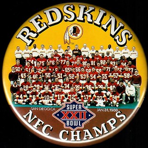 1988 Super Bowl XXII NFC Champions Redskins Pin