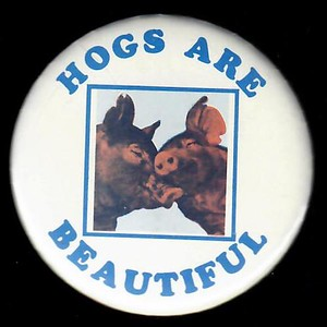 "1980s ""Hogs are Beautiful"" Pin"