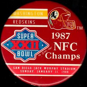 1988 Super Bowl XXII NFC Champions Redskins Pin