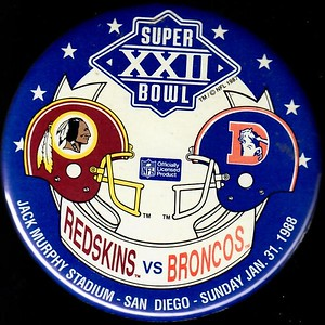 1988 Super Bowl XXII Redskins vs. Broncos Pin
