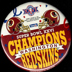 1992 Super Bowl XXVI Champions Redskins Pin