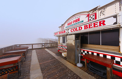 Foggy Pier.  The Pier at Pensacola beach on a foggy morning.  Nikon D80 w/Nikkor 10.5mm (f10, 1/40 sec, ISO 160); de-fished