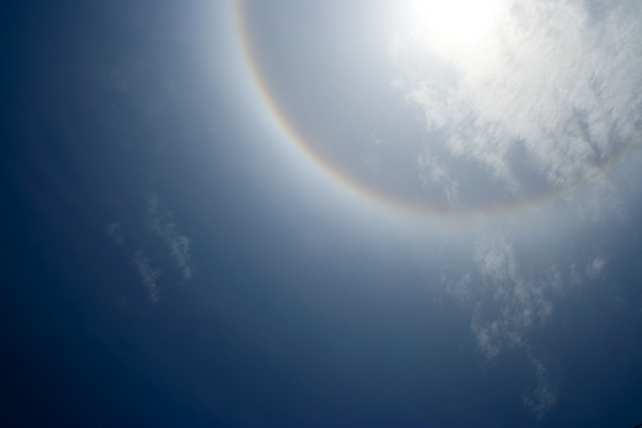 The sun had a ring around it that day, much like the moon does on a winter night.
