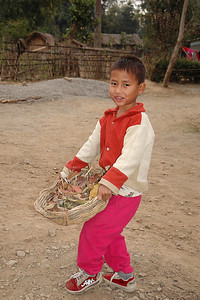 Orphan Boy cleaning the yard at Covenant Home in Churachanpur, Manipur (India)