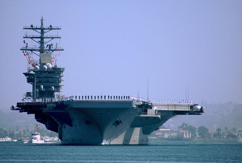 U S S Nimitz - Heading out on deployment - San Diego Bay