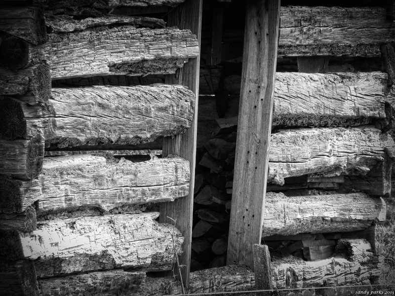 3-24-14: Log building, Honey Run Road
