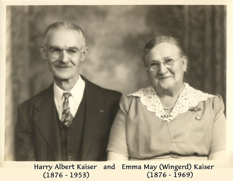 Harry Albert Kaiser (1876 - 1953) and Emma May (Wingerd) Kaiser (1876 - 1969)<br /> photo date unknown