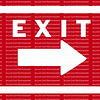 EXIT sign and arrow in white pointing to the right against a red background.