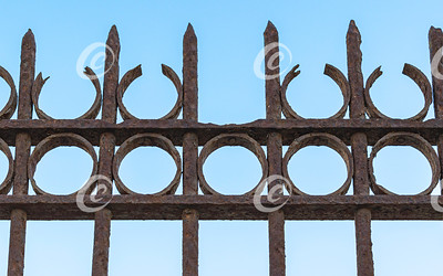 Rusty Antique Wrought Iron Fence at Hatachanah in Tel Aviv