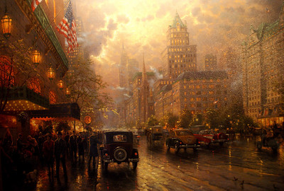 "Picture a painting: I'm not really sure why I took this shot. This painting is by Thomas Kinkade - it's called ""New York Fifth Avenue"" (Our last major purchase before the kids were born)"