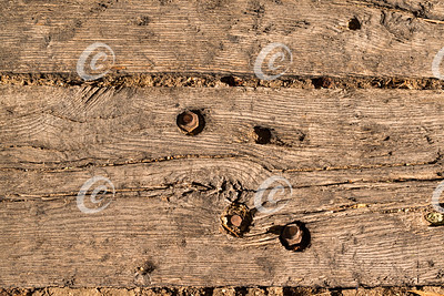 Antique Wood Railroad Tie at the Old Train Station in Israel