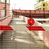 Barricade blocking a pedestrian walkway as the drawbridge opens