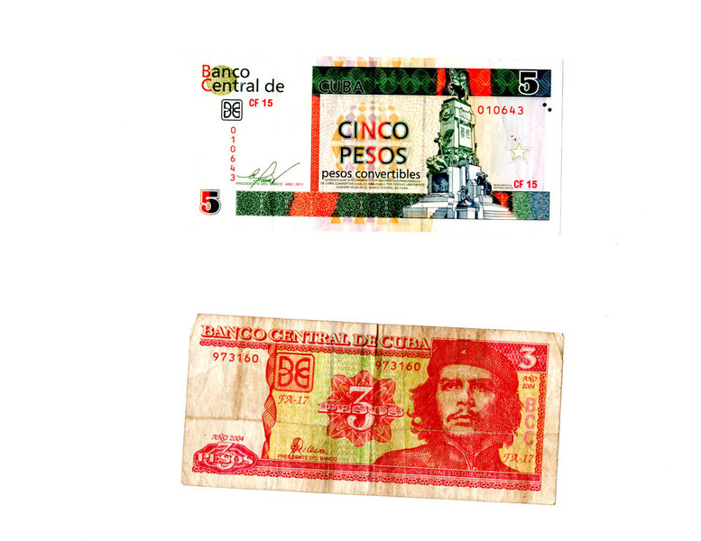 convertible peso on top<br /> <br /> Cuban peso on the bottom