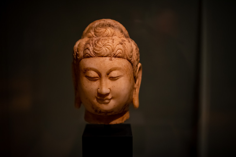 Tang Dynasty (618-907 ad) Buddha Head, c. 700 carved marble