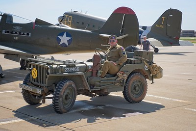 Riding in an original Jeep, D-Day Commemoration at the Silent Wings Museum 2018.