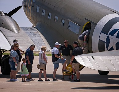 Boarding for a ride on the Southern Cross, a WWII C47, 2018.