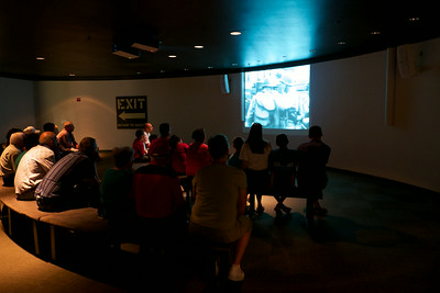 Watching the D-Day movie at the Silent Wings Museum in Lubbock, 2014. Lubbock was one of the main training bases for glider pilots in the war.