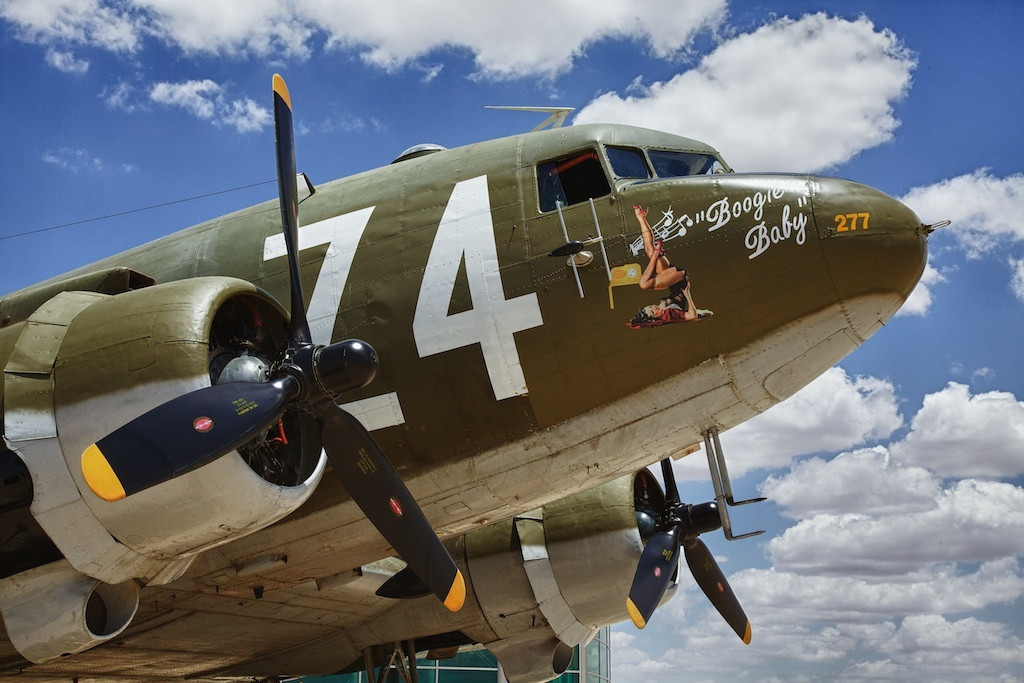 Boogie Baby is a C47 transport flown by the WWII Airborne Demonstration Team based in Frederick, Oklahoma.