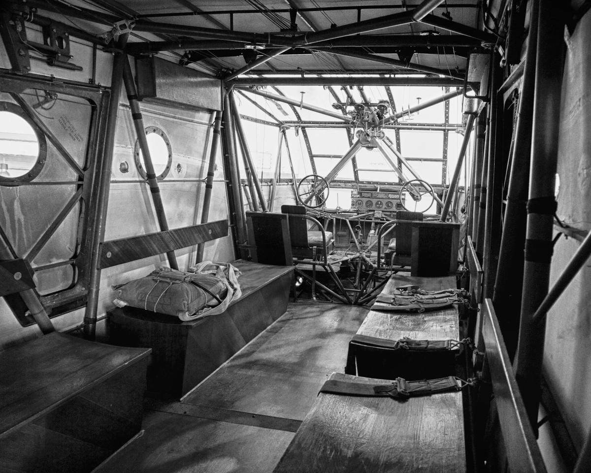 """This is the interior of a CG-4A glider, the type used in WWII by US troops. The pilots sat behind the two control wheels visible in the front of the glider. It is housed at the Silent Wings Museum in Lubbock, Texas. Lubbock was a home to glider pilot training in WWII, and the Silent Wings Museum was started by former U.S. Army Air Force pilots. The Wikipedia page for the museum is <a href=""""http://en.wikipedia.org/wiki/Silent_Wings_Museum"""">http://en.wikipedia.org/wiki/Silent_Wings_Museum</a> ."""