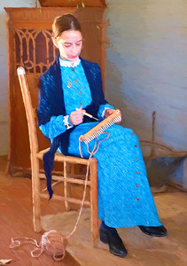 Young woman knitting, Ranch Days, Ranching Heritage Center, Lubbock, Texas 2018. Rendered as an oil painting.