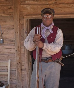 Reenactor at  Ranch Days, Ranching Heritage Center, Lubbock, Texas 2018. He has been doing this for 28 years, and often dresses in costume for other historic commemorations in the Lubbock area.