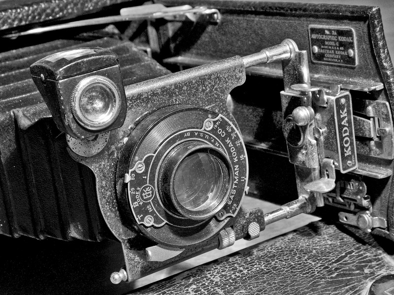 My Grandfather's 1921 Kodak Autographic Model C. Not opened since 1945, it still works.