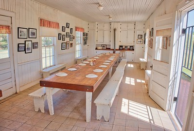 Dining hall at the old Pitchfork Ranch, moved to the National Ranching Heritage Center in Lubbock, TX. The kitchen is attached but not pictured.