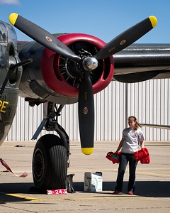 The only flying B-24 J Liberator and crew member during their visit to Lubbock on 4/6/2017. This aircraft was restored and is operated by the Collings Foundation and flies out of Fredericksburg, Texas.
