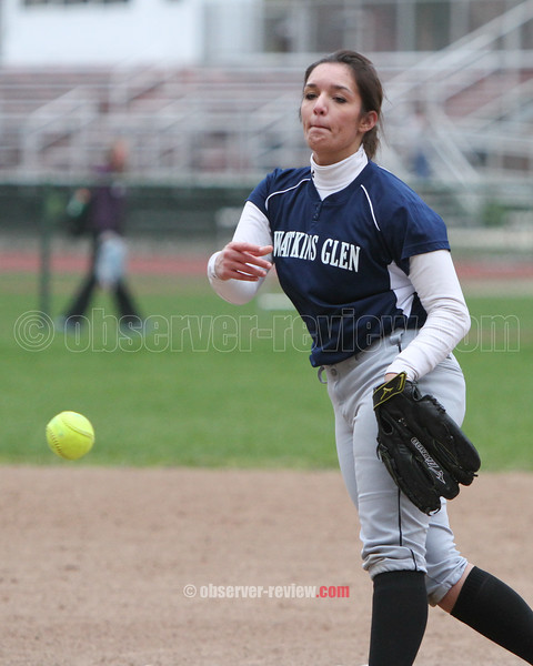 Action during the Odessa-Montour and Watkins Glen softball game, April 24, 2015.