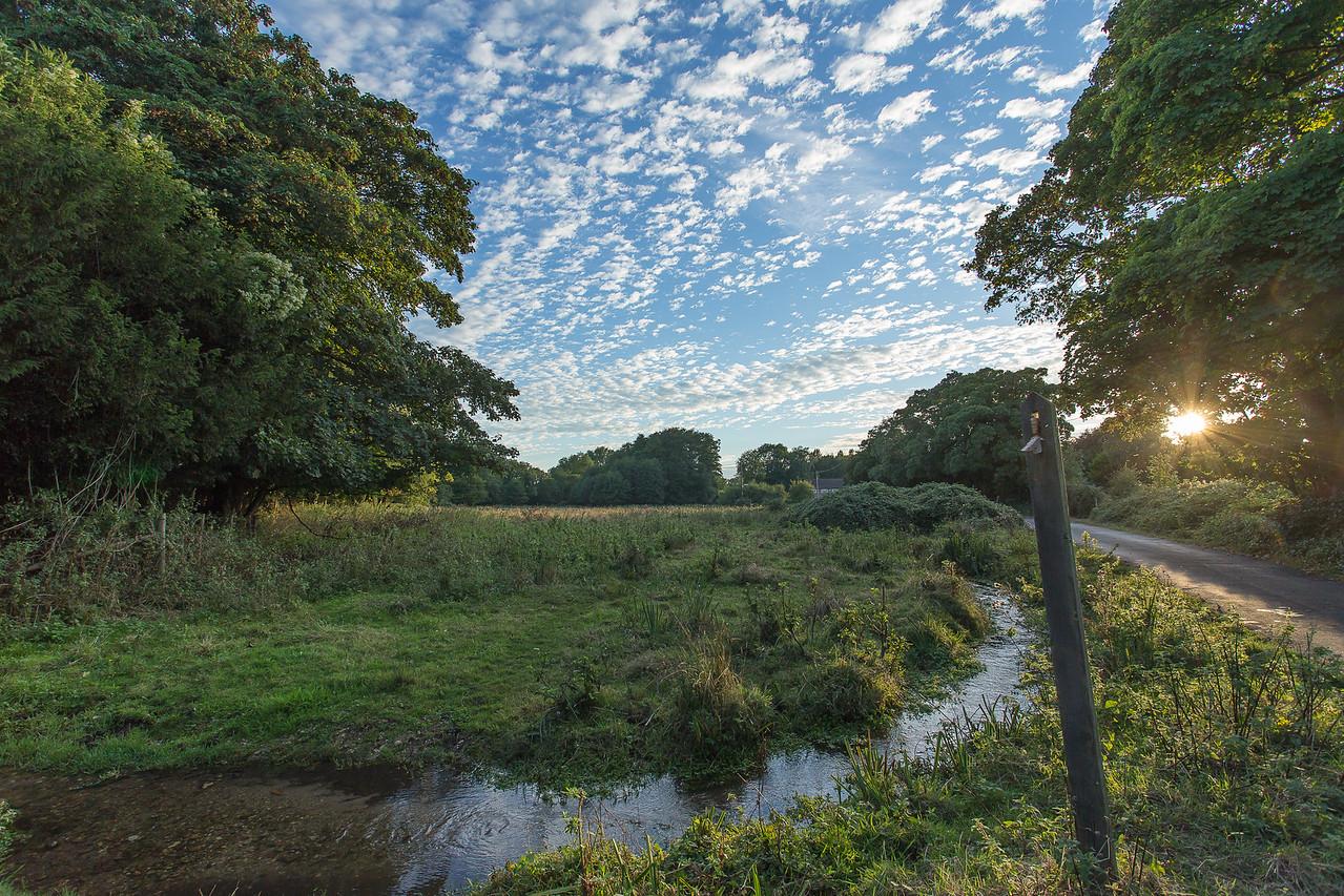 North Warnborough Greens in autumn setting sun