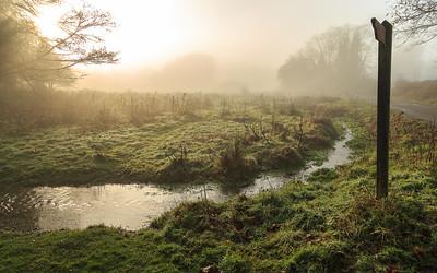 North Warnborough Greens in winter mist