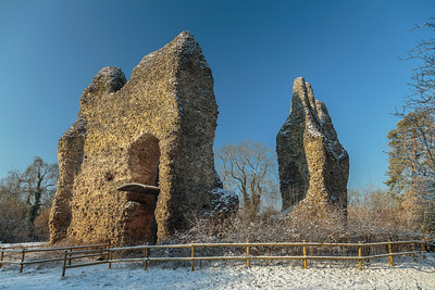 Odiham Castle on frosty, snowy morning