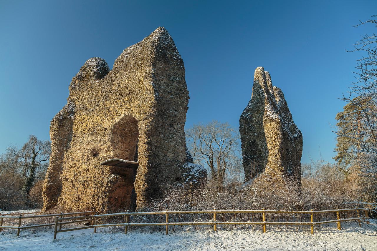 Odiham Castle on frosty, snowy morning