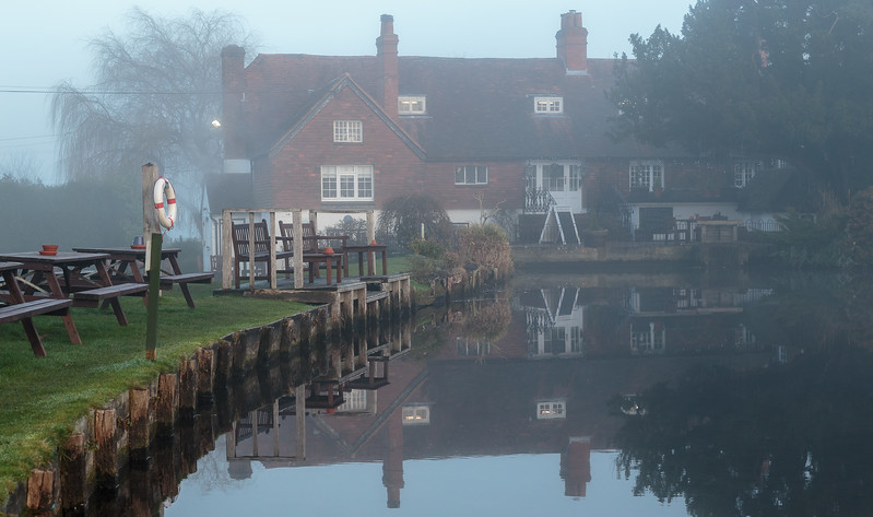 The Mill House across the pond on winter's day
