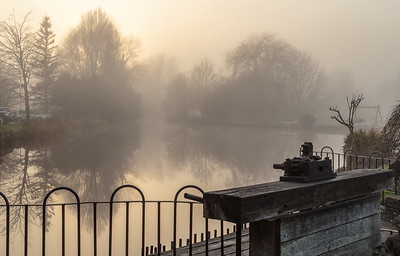 The Mill House Pond from the sluice gate in winter mist